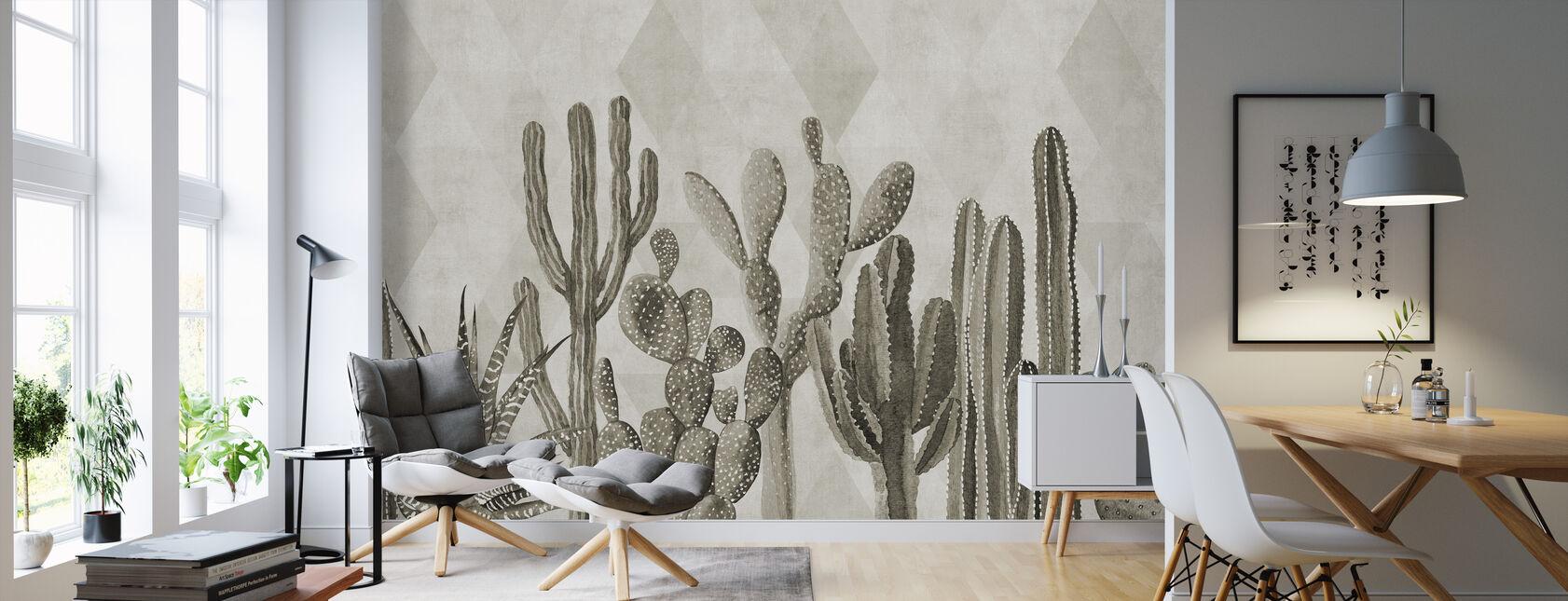 Atacama Cactus II - Sepia - Wallpaper - Living Room