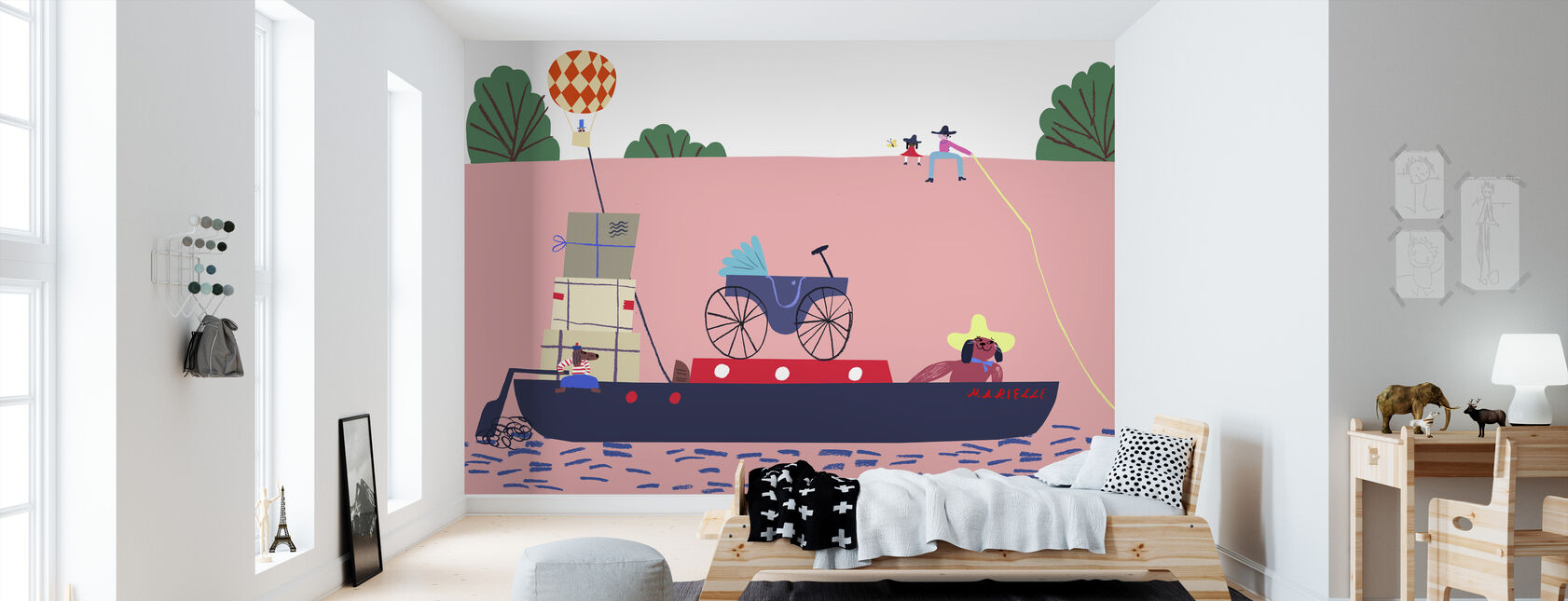 Boot en de Ballon - Behang - Kinderkamer