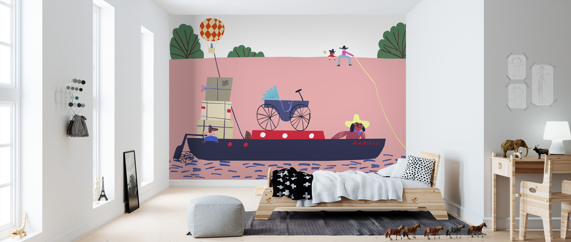Boat and the Balloon - Wallpaper - Kids Room