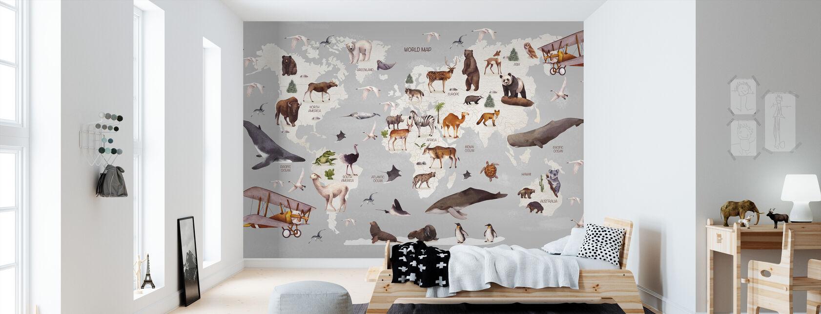 Mapa del Mundo de los Animales - Papel pintado - Cuarto de niños