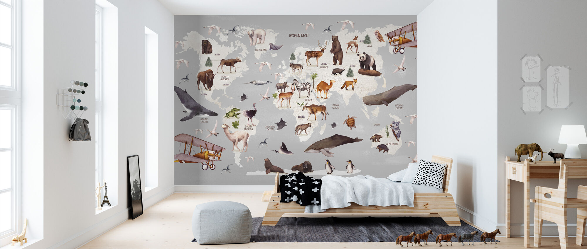 World of Animals Karta - Tapet - Barnrum