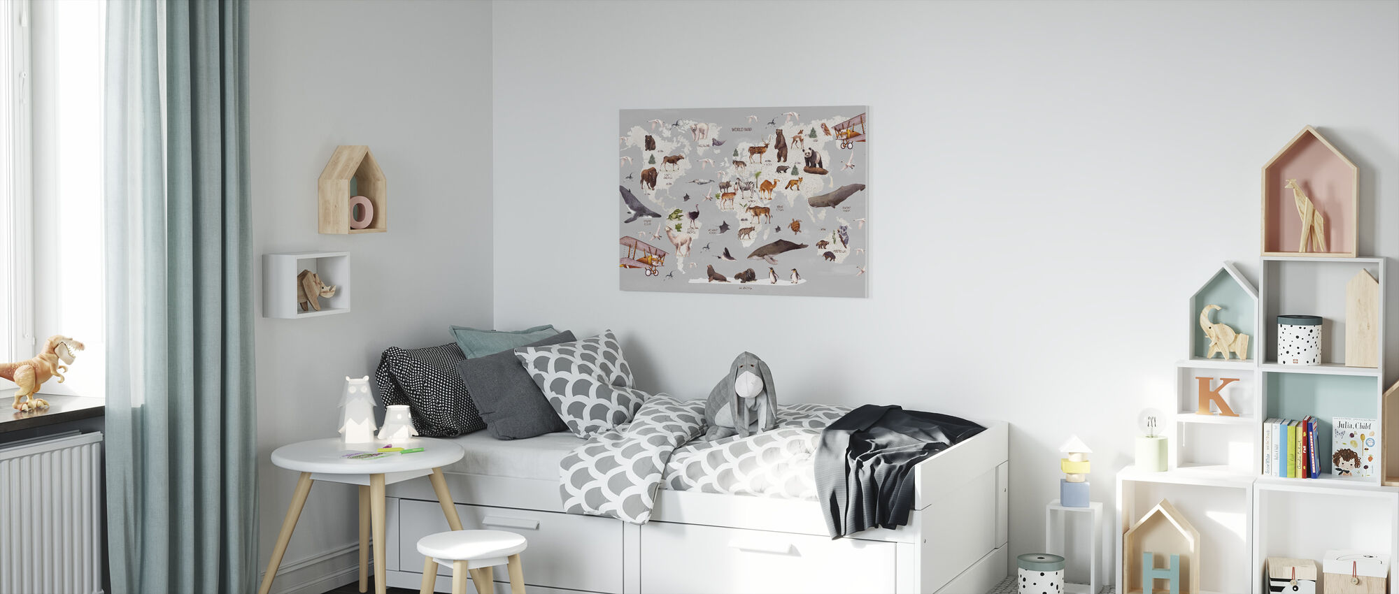 World of Animals Map - Canvas print - Kids Room