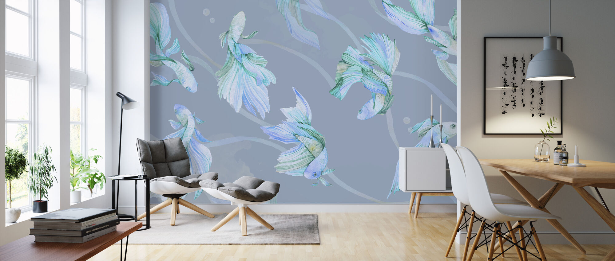 Kei Waltz - Blue - Wallpaper - Living Room