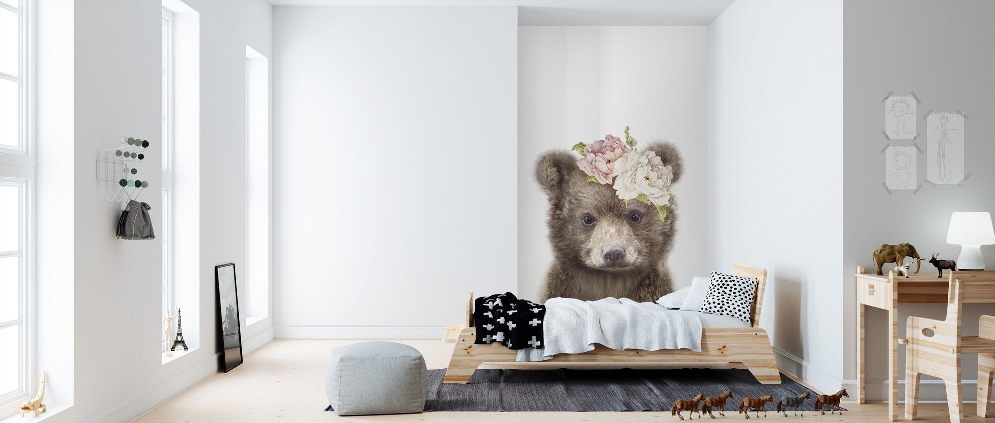 Floral Baby Bear - Wallpaper - Kids Room