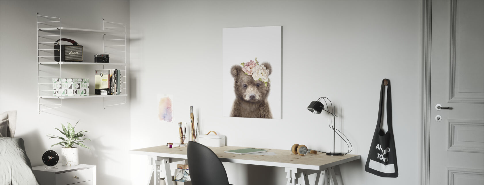 Floral Baby Bear - Canvas print - Kids Room