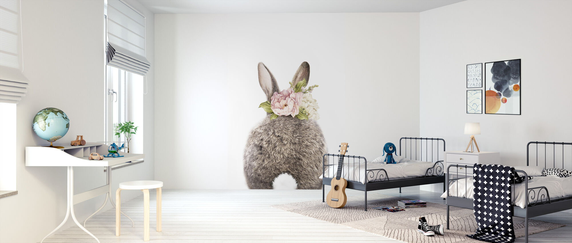 Floral Bunny - Tail - Wallpaper - Kids Room