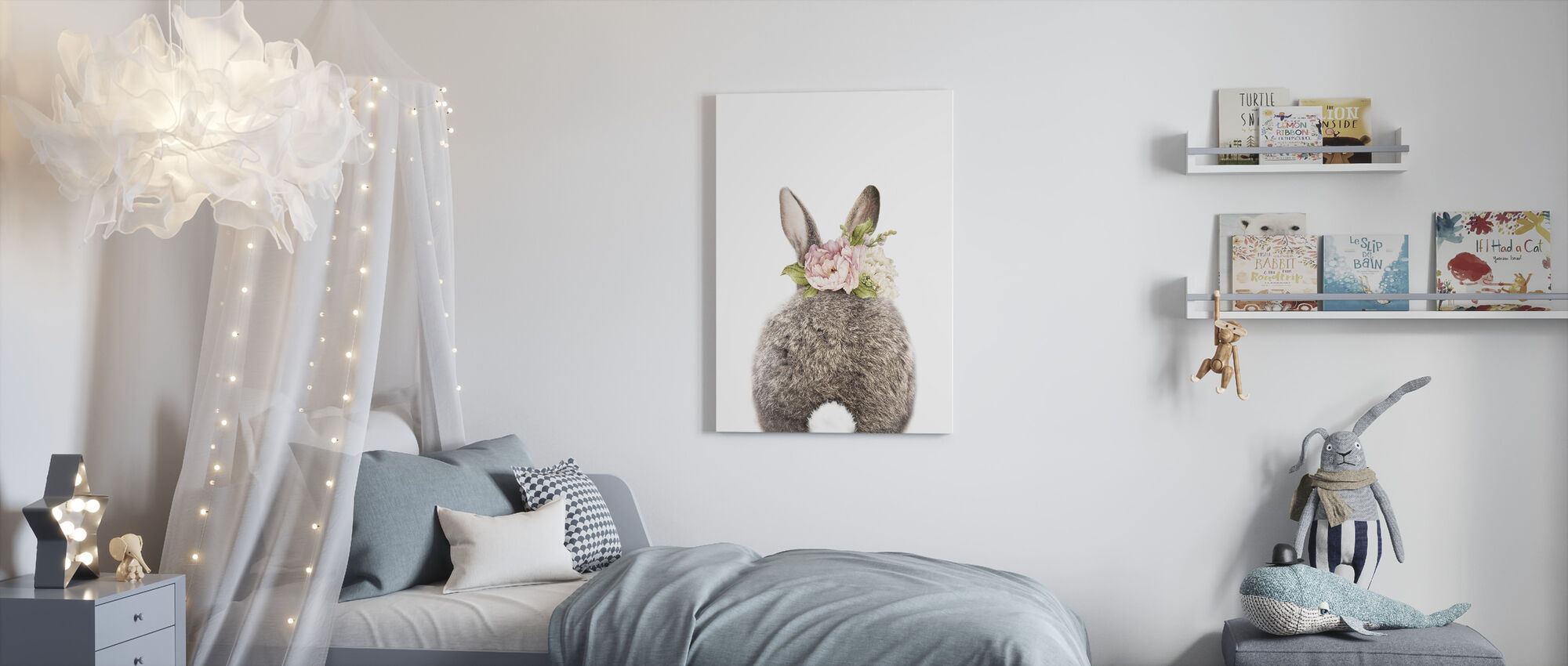 Floral Bunny - Tail - Canvas print - Kids Room