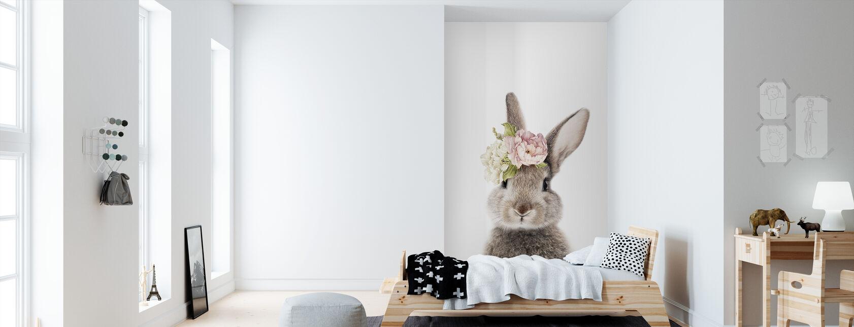 Floral Bunny - Wallpaper - Kids Room