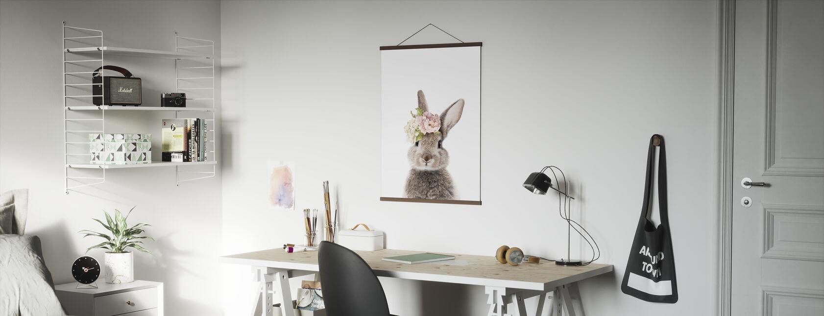 Blomstret kanin - Plakat - Kontor