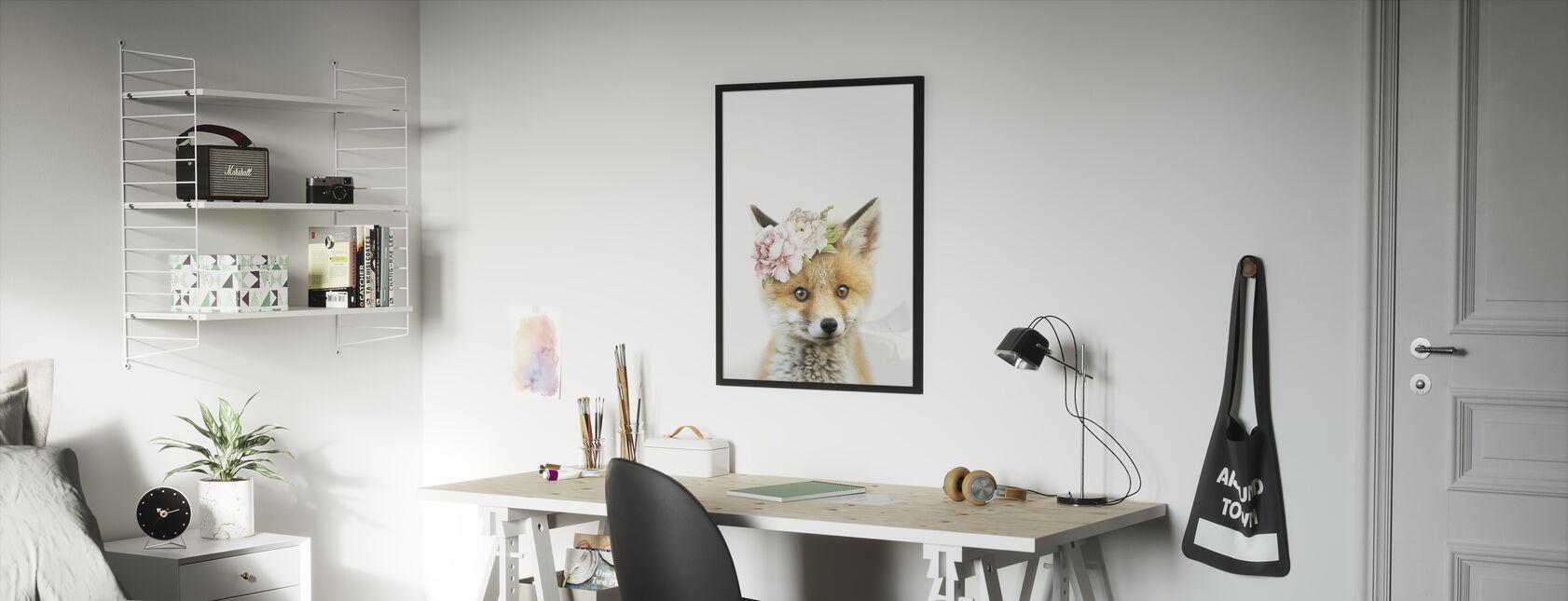 Floral Fox - Framed print - Kids Room