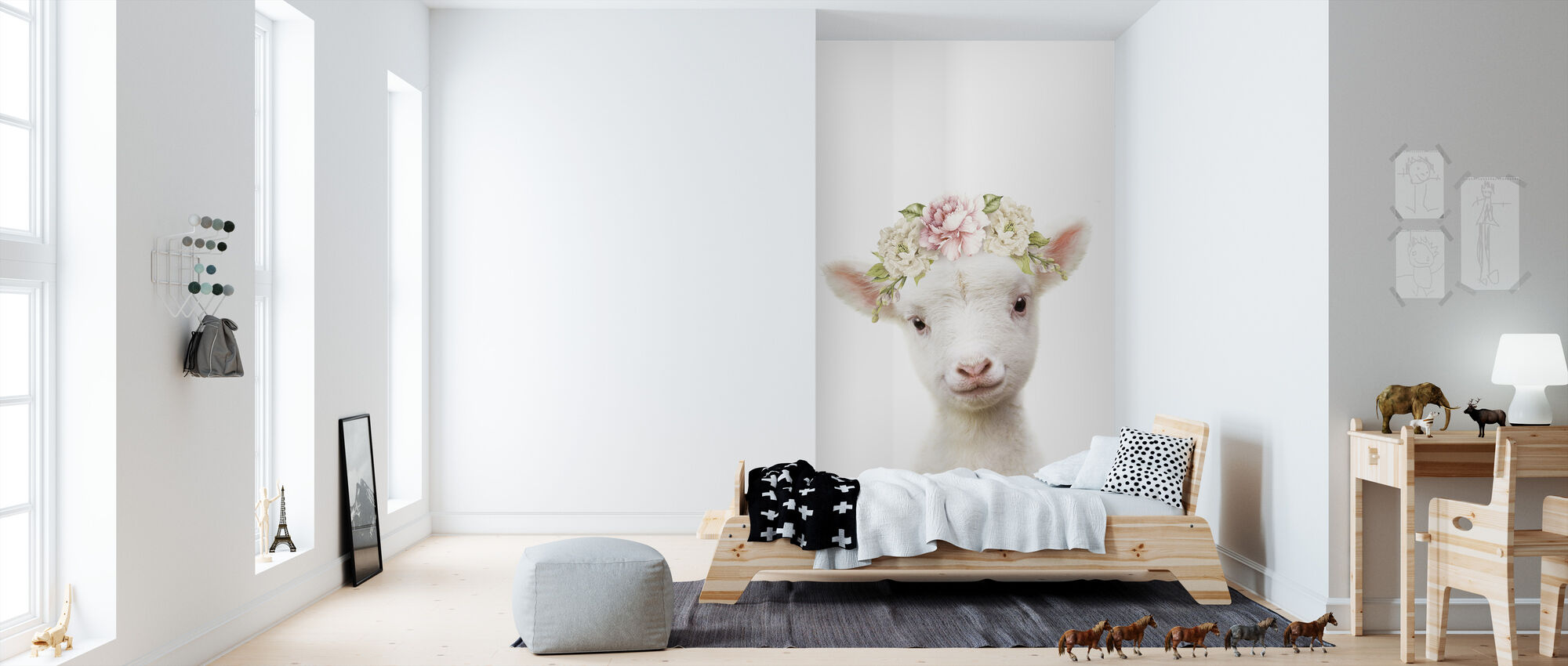 Floral Lamb - Wallpaper - Kids Room