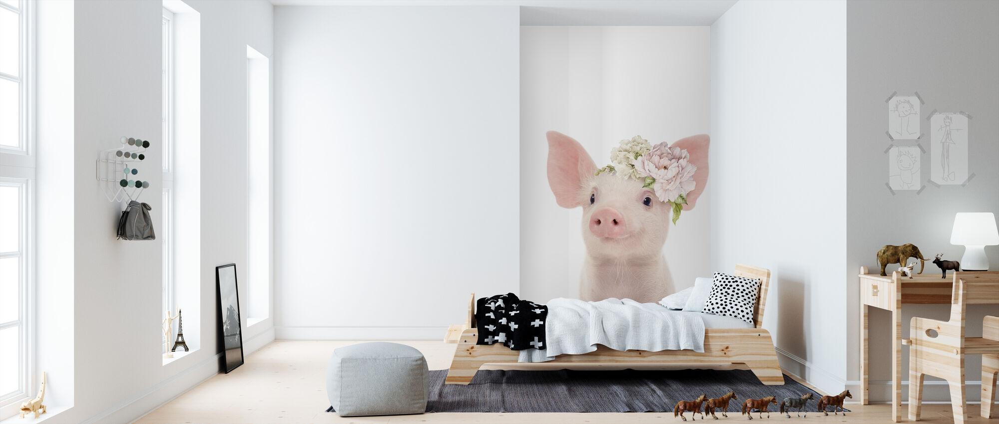 Floral Piglet - Wallpaper - Kids Room