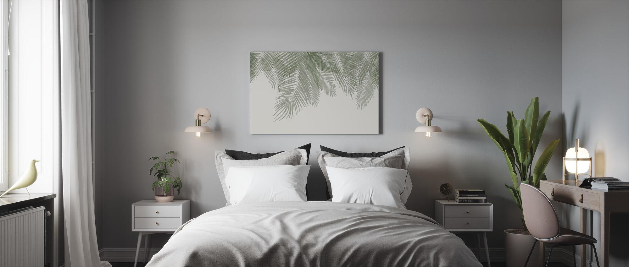 Hanging Palm Leaves - Beige-Green - Canvas print - Bedroom