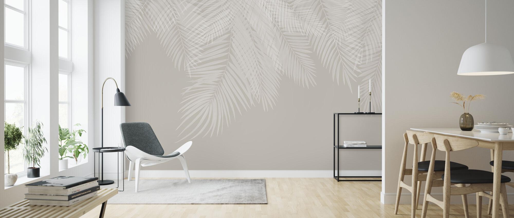 Riippuva palmun lehdet - Beige-valkoinen - Tapetti - Olohuone