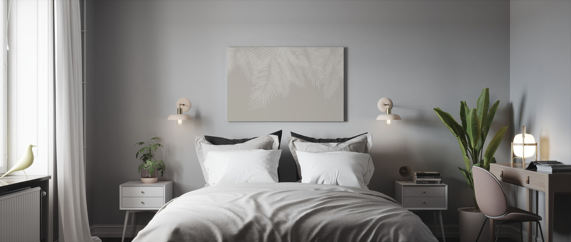 Hanging Palm Leaves - Beige-White - Canvas print - Bedroom