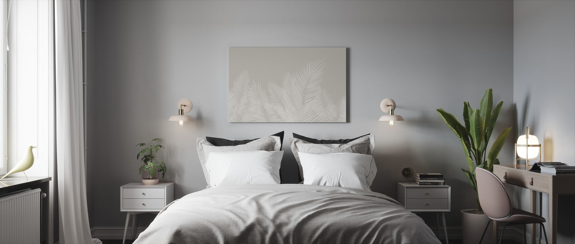 Swaying Palm Leaves - Beige-White - Canvas print - Bedroom