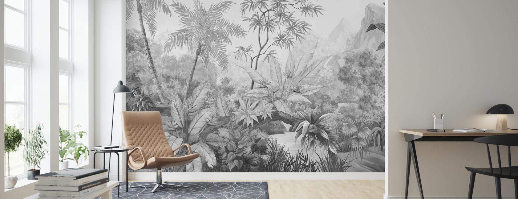Jungle emmêlée - Bw - Papier peint - Salle à manger
