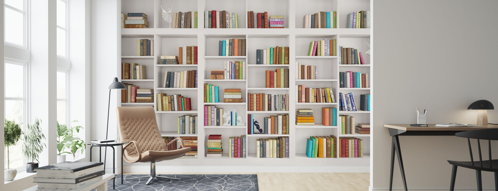 White Bookshelf - Wallpaper - Living Room