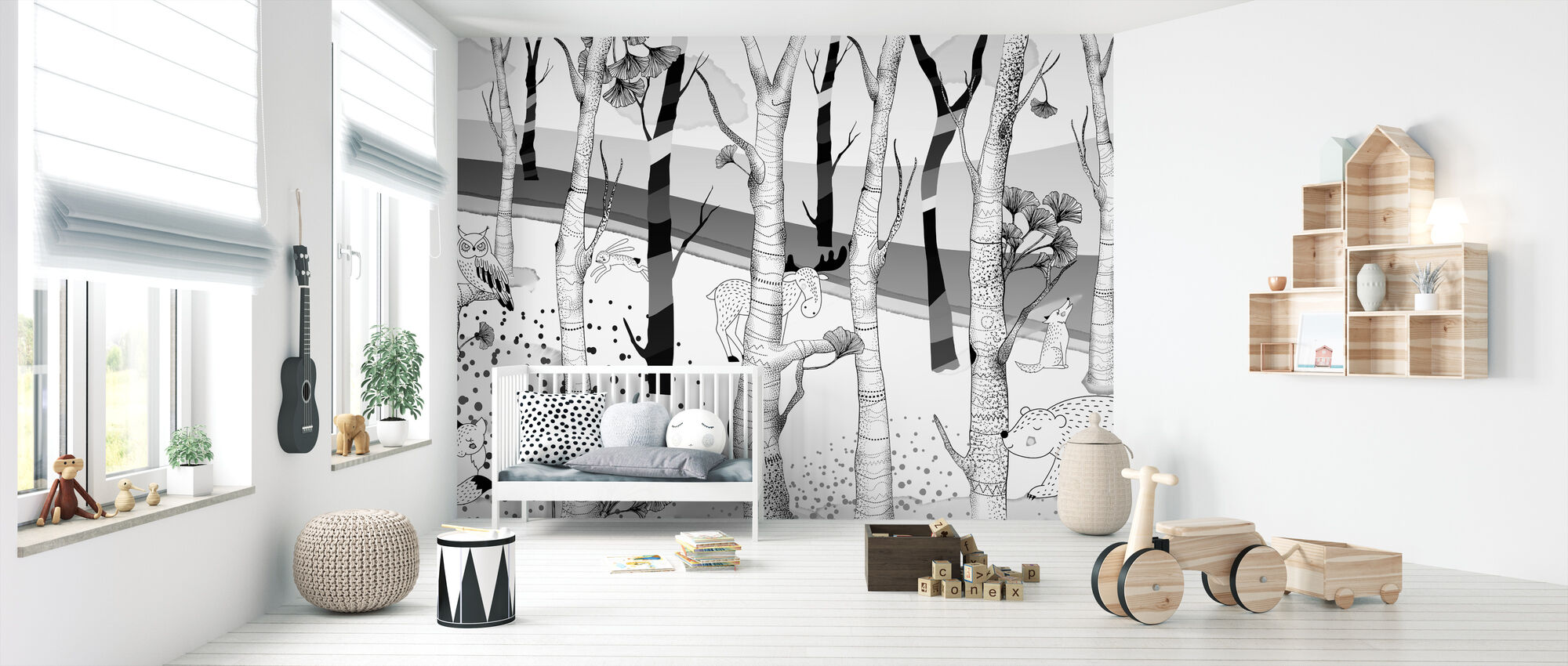 Woodland - Bw - Wallpaper - Nursery