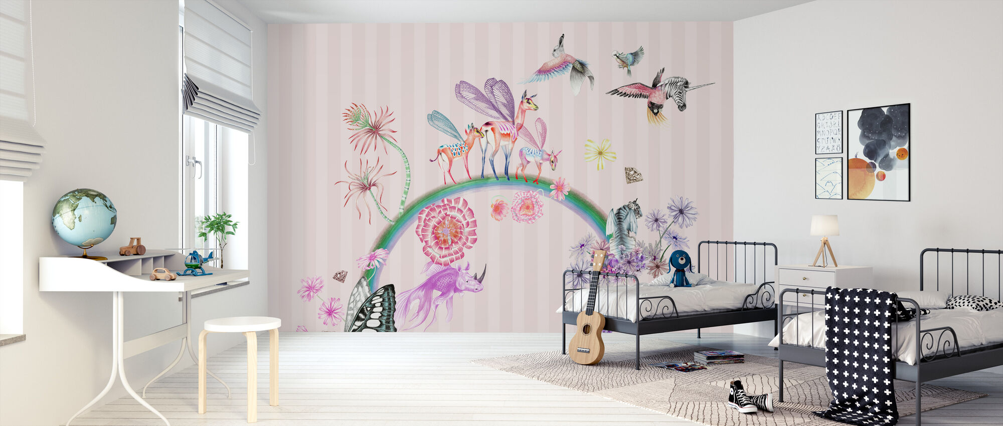 Fables-Pink Stripe - Wallpaper - Kids Room