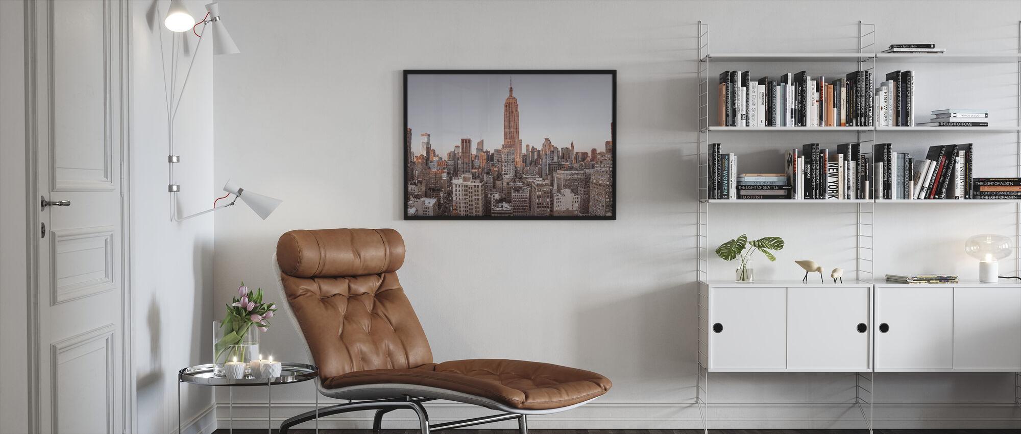 New Yorkin lintunäkymä - Kehystetty kuva - Olohuone