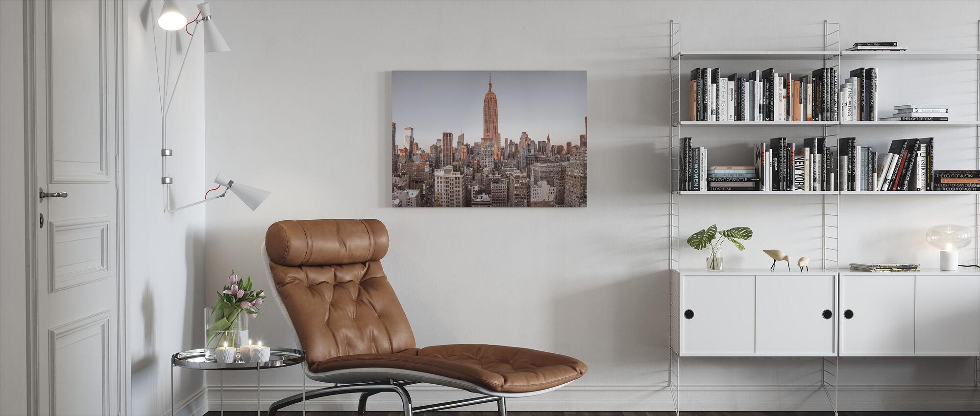New Yorkin lintunäkymä - Canvastaulu - Olohuone