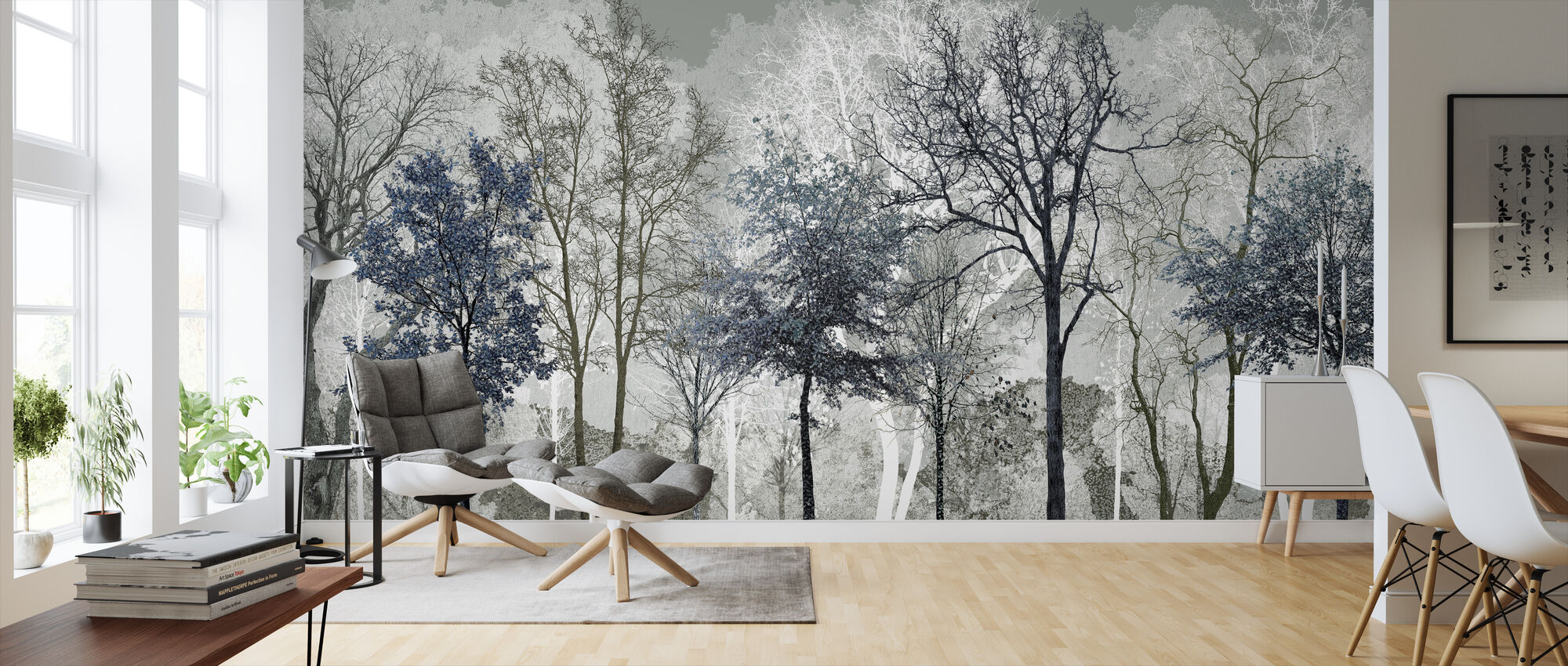 Vinterblues i skogen - Tapet - Vardagsrum