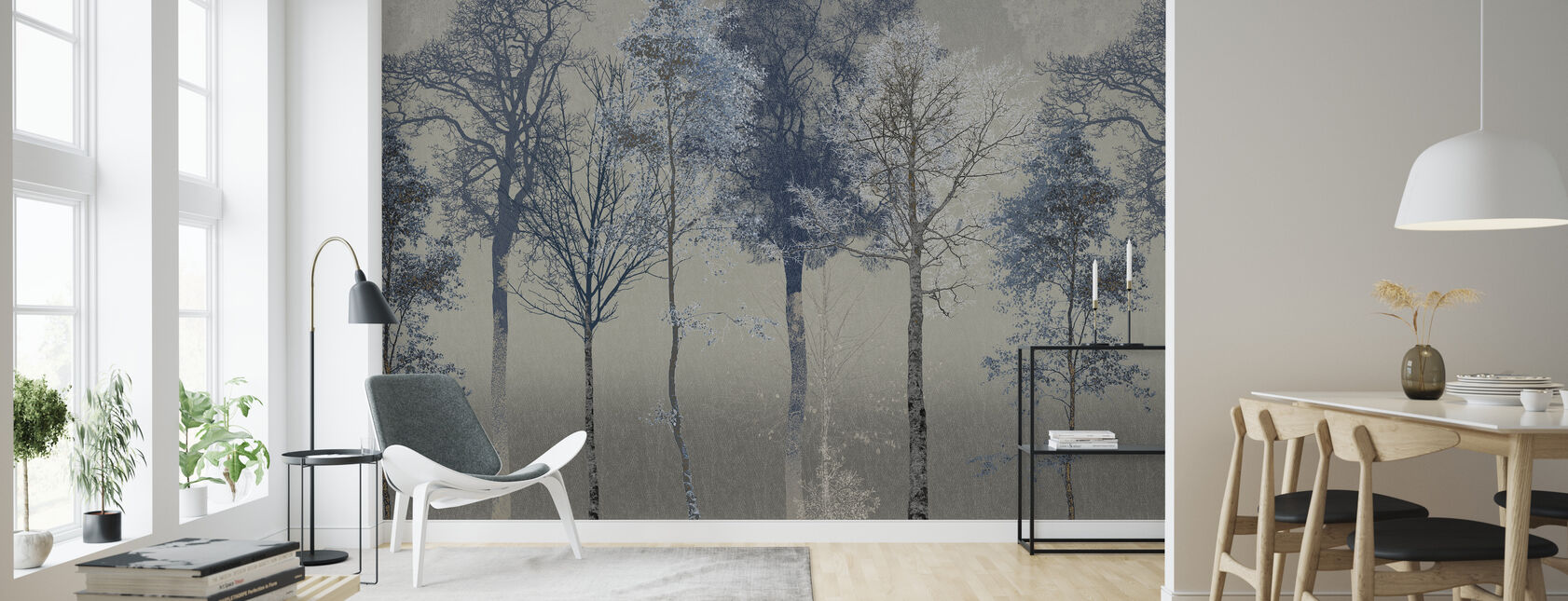 Hidden Bird - Blue Grey - Wallpaper - Living Room