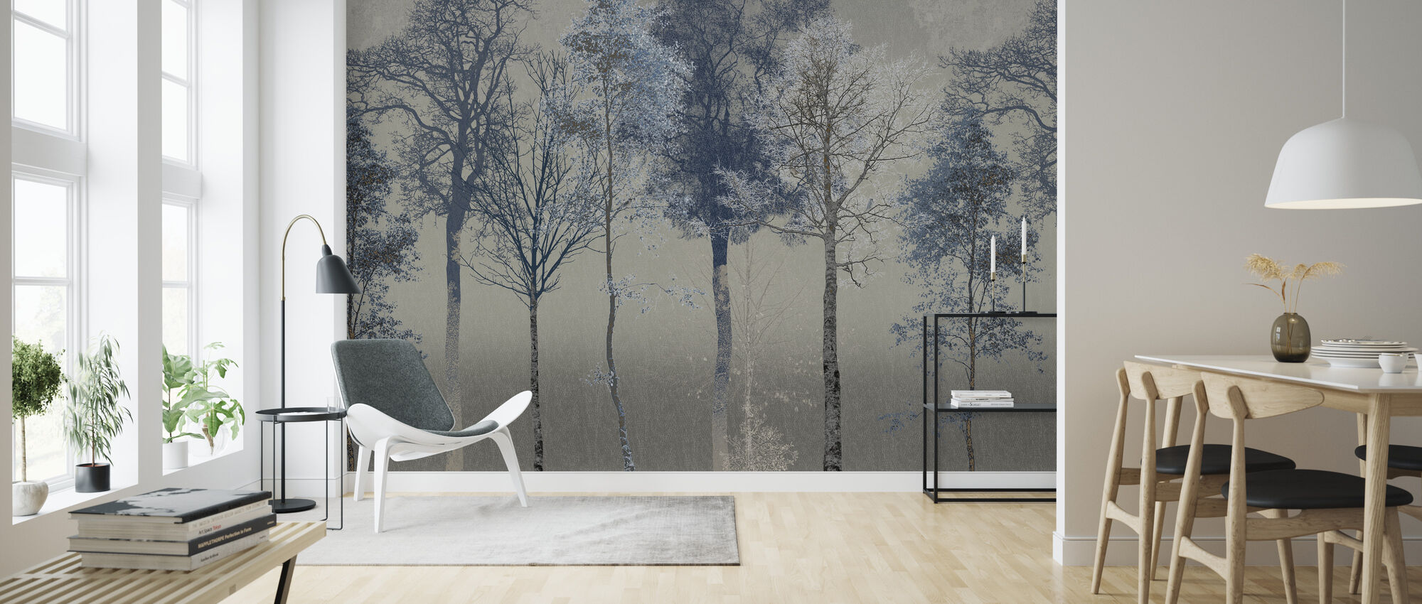 Hidden Bird - Blue Grey - Wallpaper - Living Room