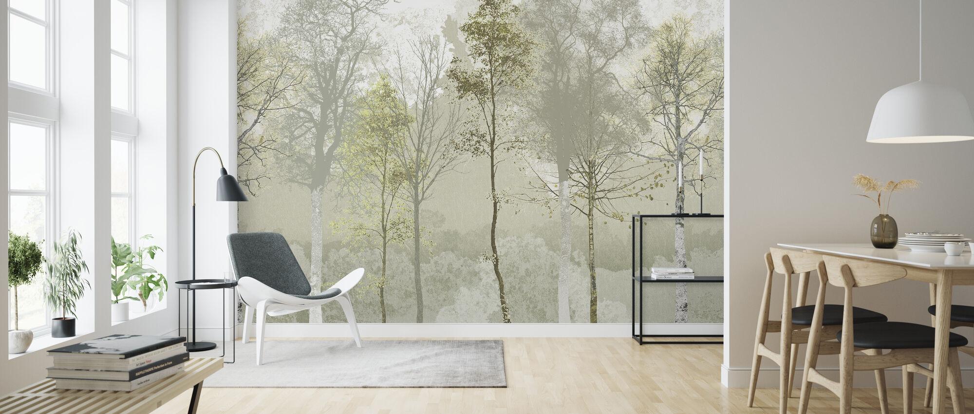 Hidden Bird - Green Beige - Wallpaper - Living Room
