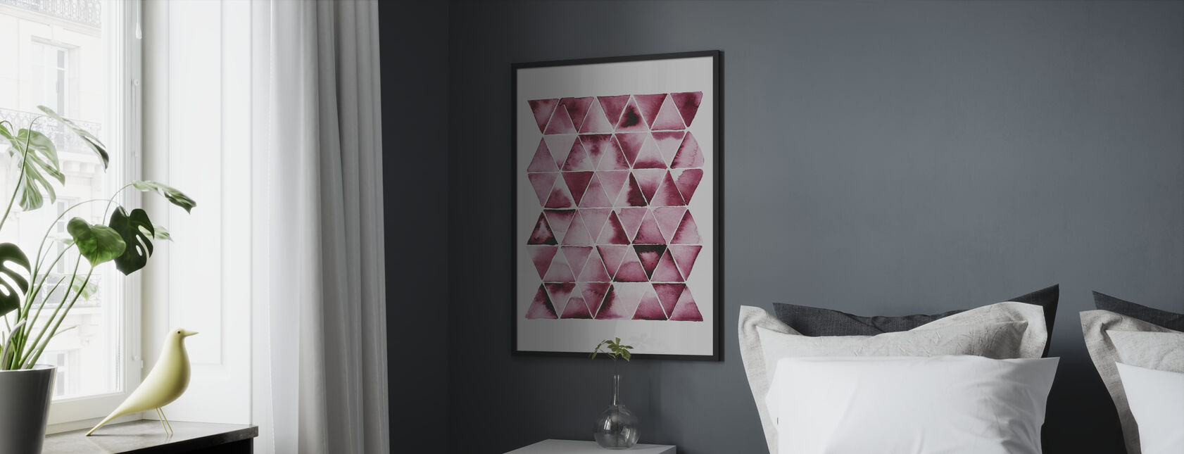 Red Triangles - Framed print - Bedroom