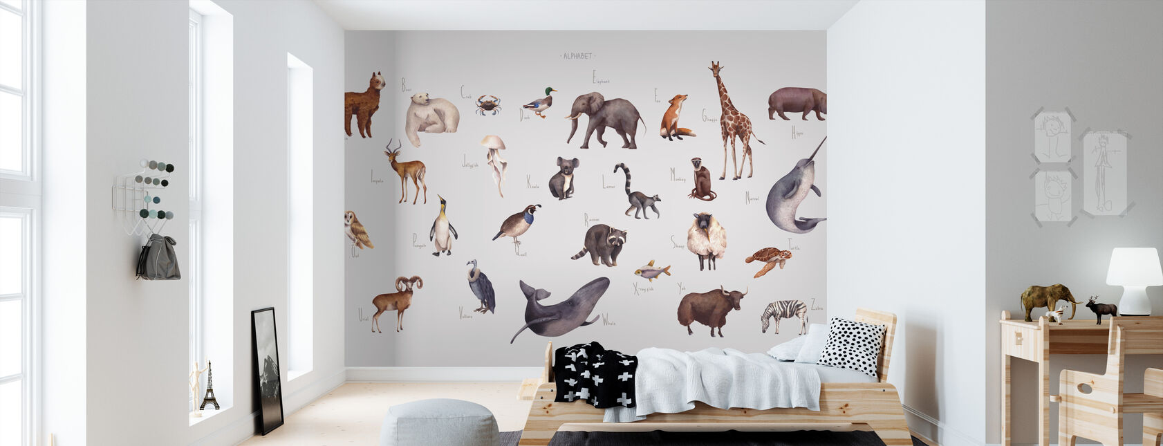 Animal Alphabet - Bright - Wallpaper - Kids Room
