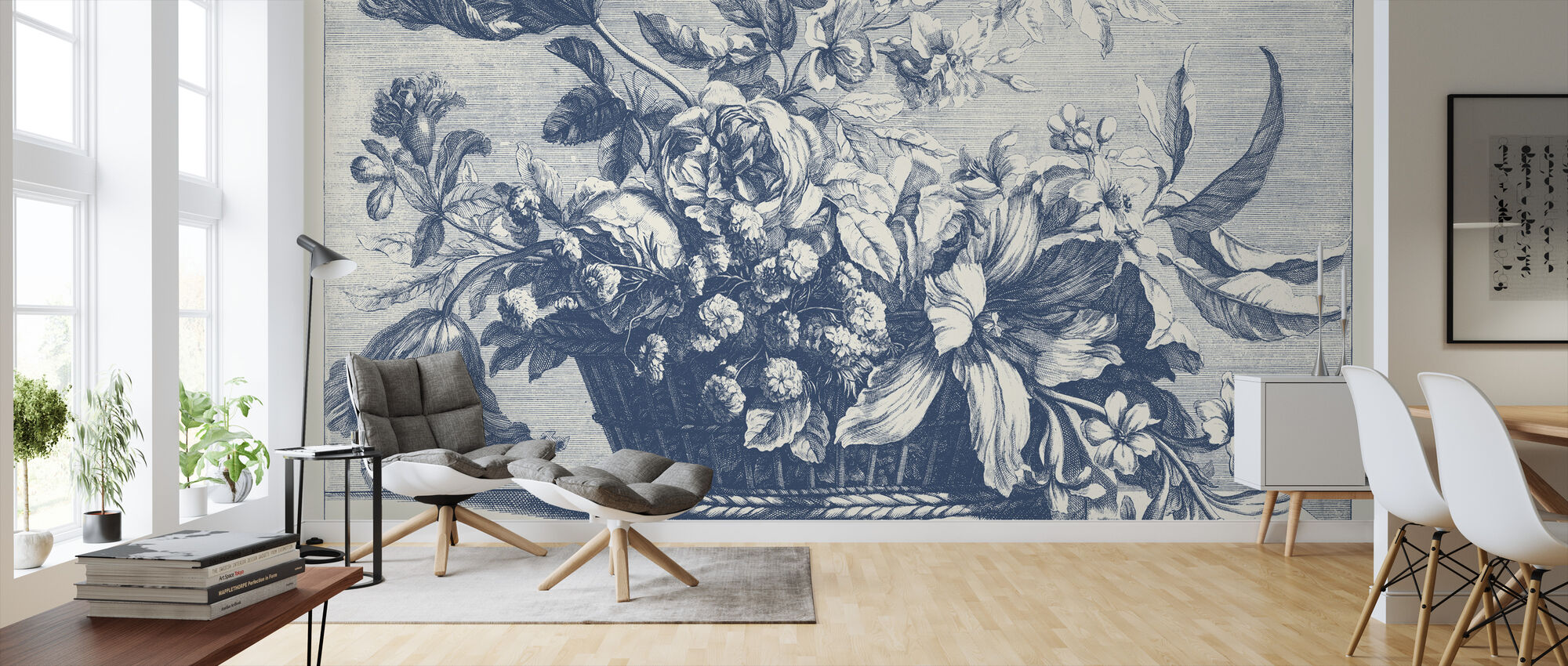 Navy Basket of Flowers - Wallpaper - Living Room