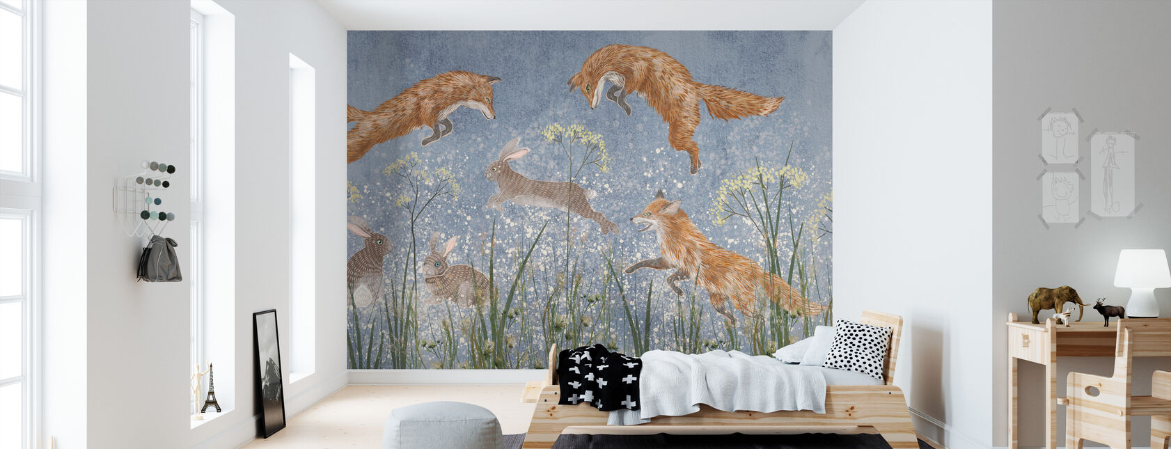 Jumping Foxes - Wallpaper - Kids Room
