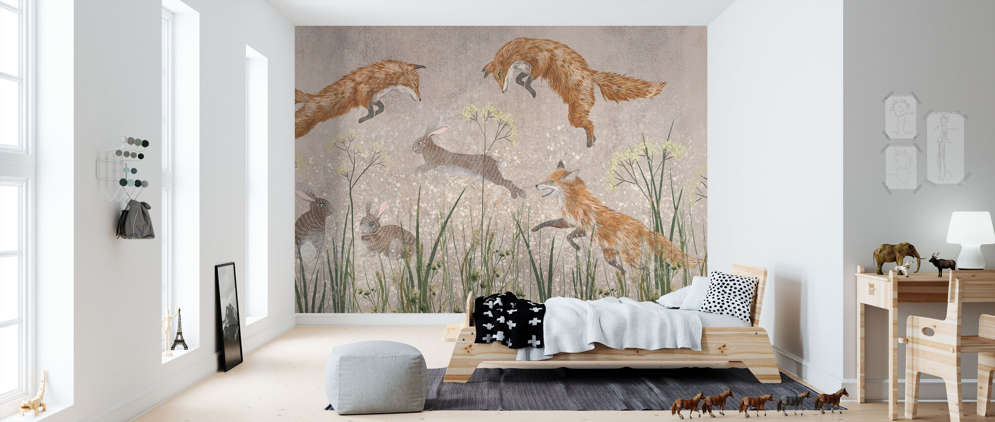 Jumping Foxes II - Wallpaper - Kids Room