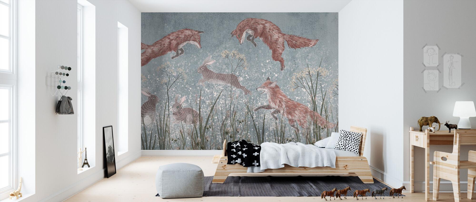 Jumping Foxes III - Wallpaper - Kids Room