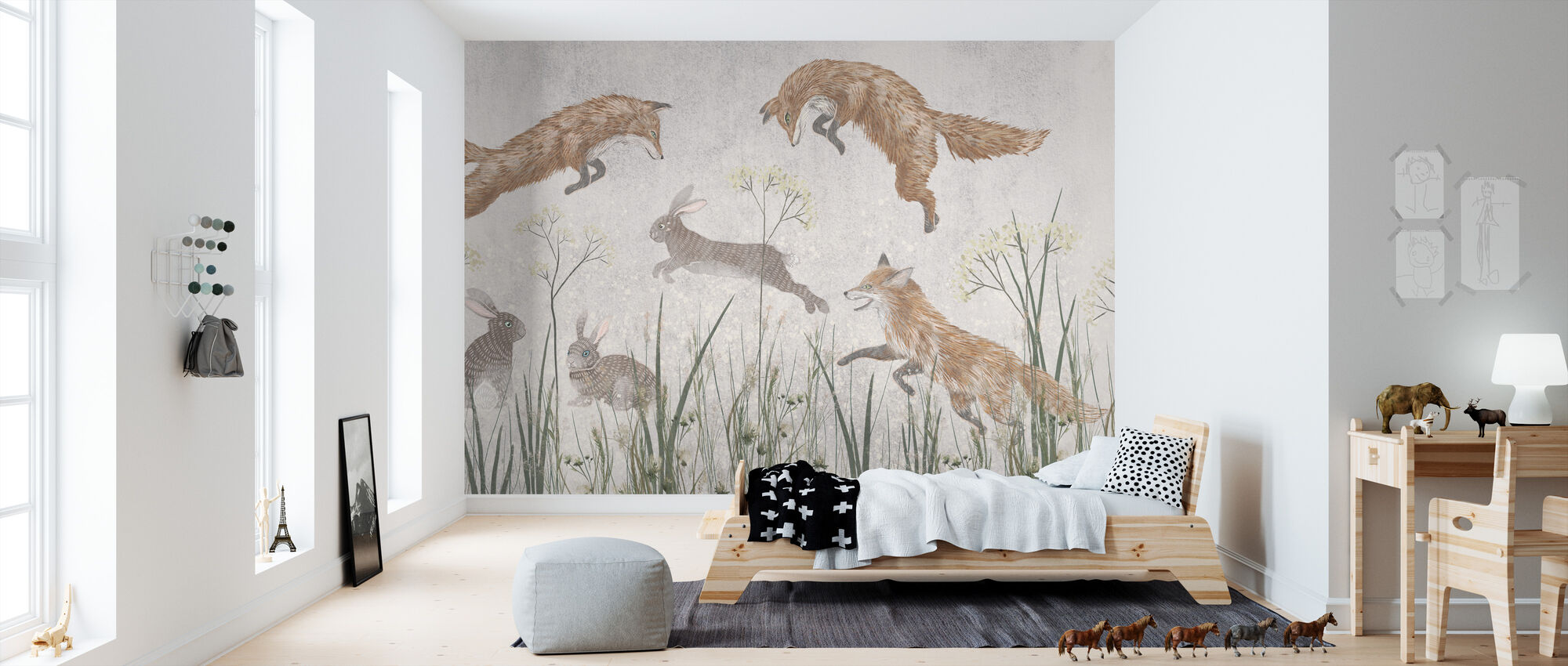 Jumping Foxes IIII - Wallpaper - Kids Room