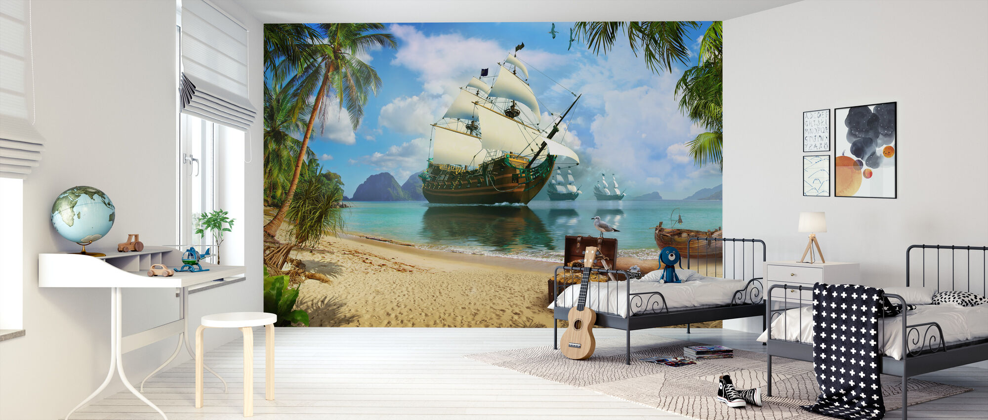 Pirate Treasure Island - Wallpaper - Kids Room