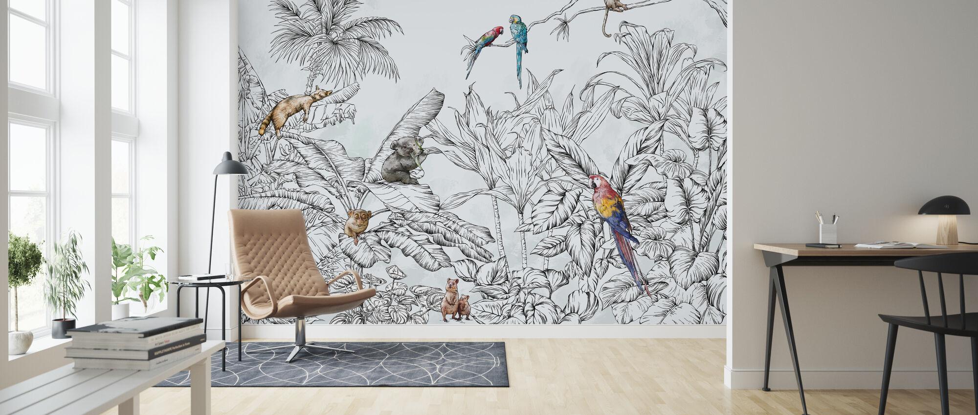 Hello Jungle Animals - Wallpaper - Living Room