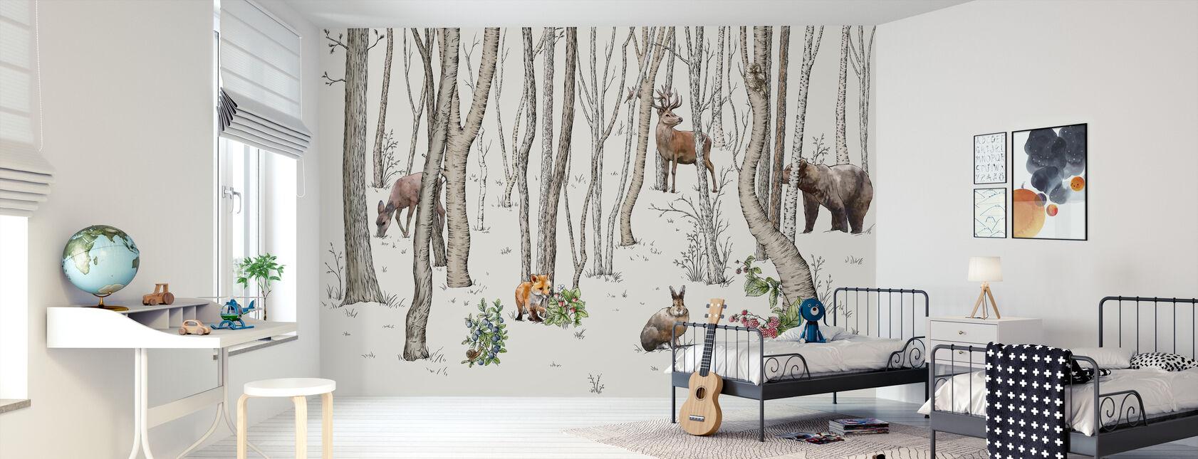 Dieren van het bos - Behang - Kinderkamer