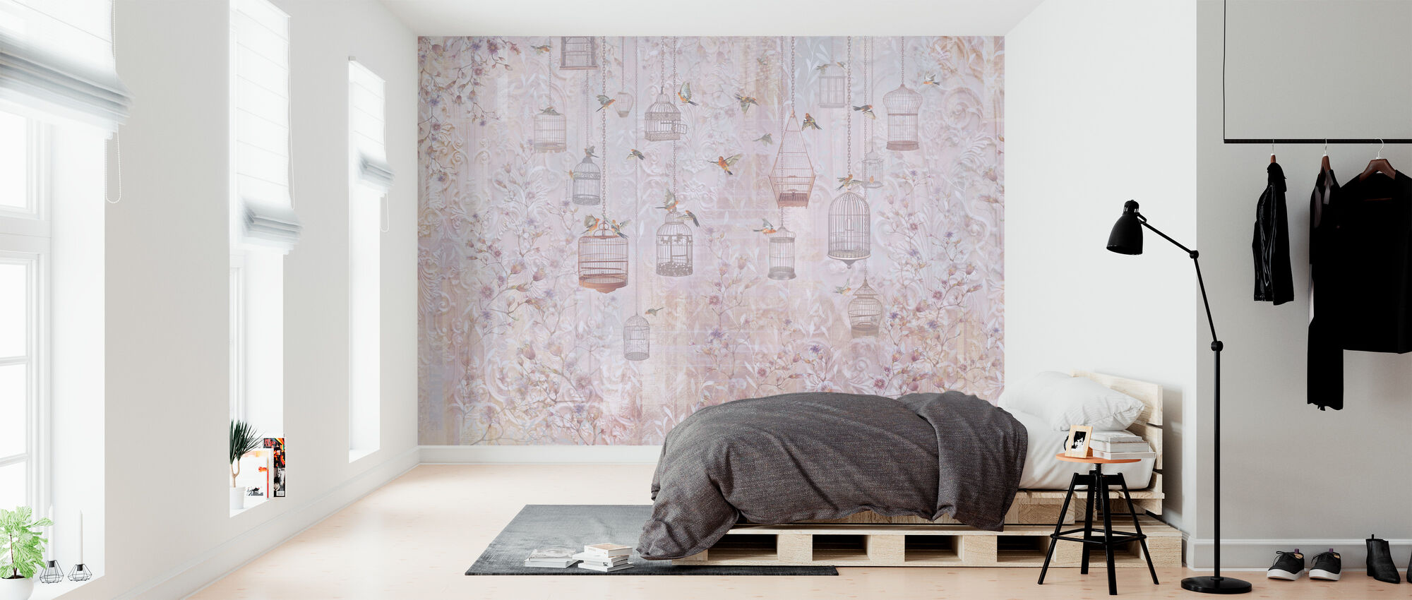 Birds and Cages - Wallpaper - Bedroom