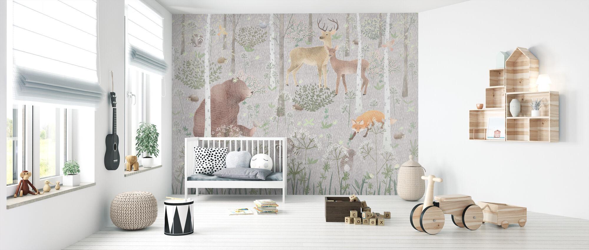 Wildlife - Gray - Wallpaper - Nursery