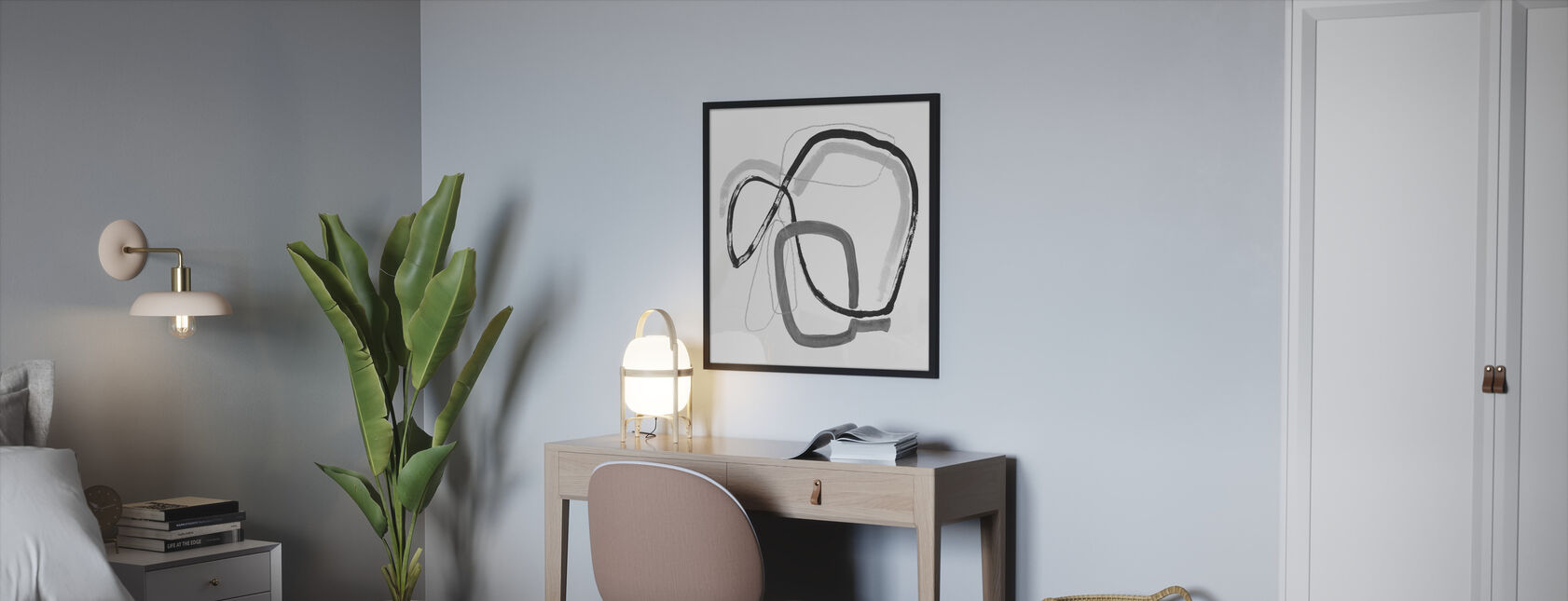 Black and Grey Vibration - Framed print - Bedroom
