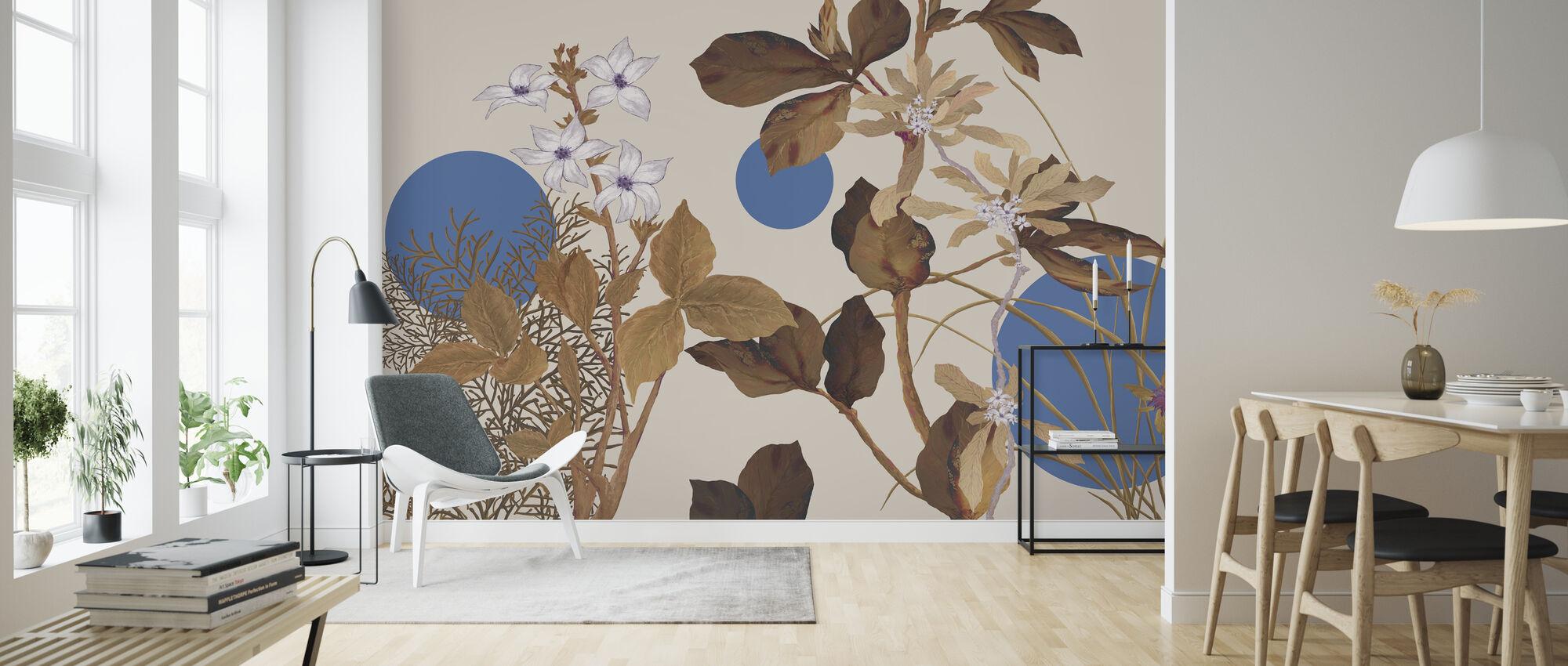 Flora Novel - Brown - Wallpaper - Living Room