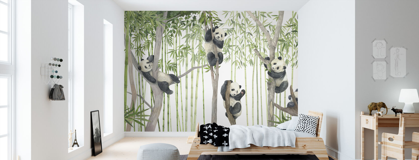 Panda Friends - Bright - Wallpaper - Kids Room