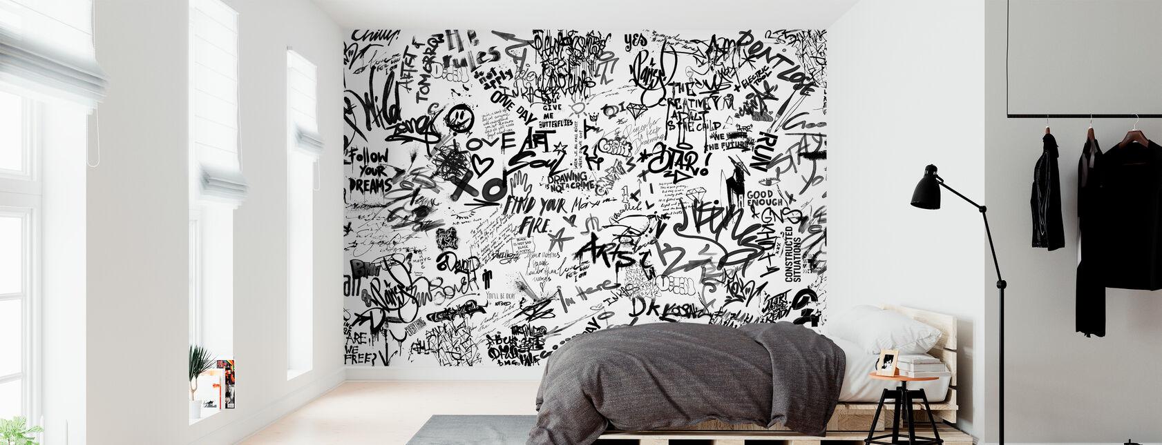 Street Art Poetry - Bw - Wallpaper - Bedroom