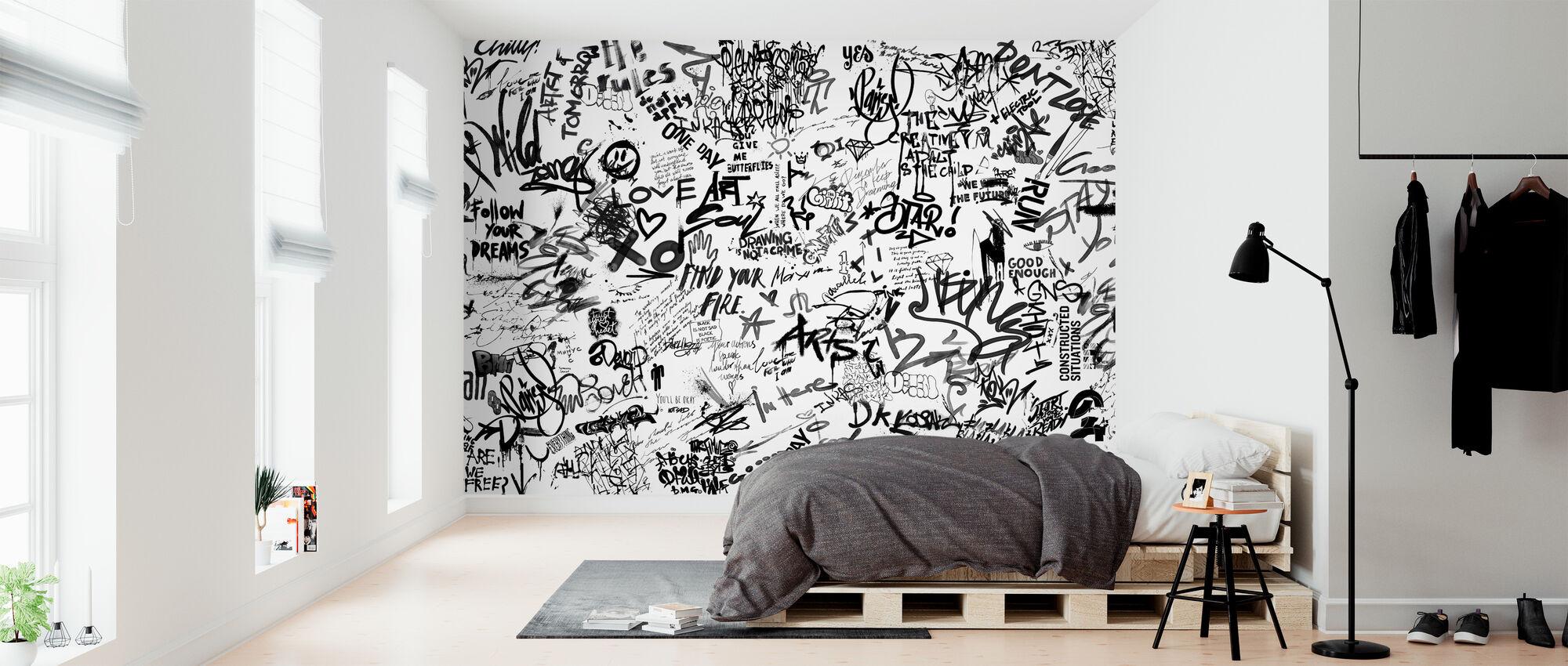 Street Art Poesia - Bw - Carta da parati - Camera da letto