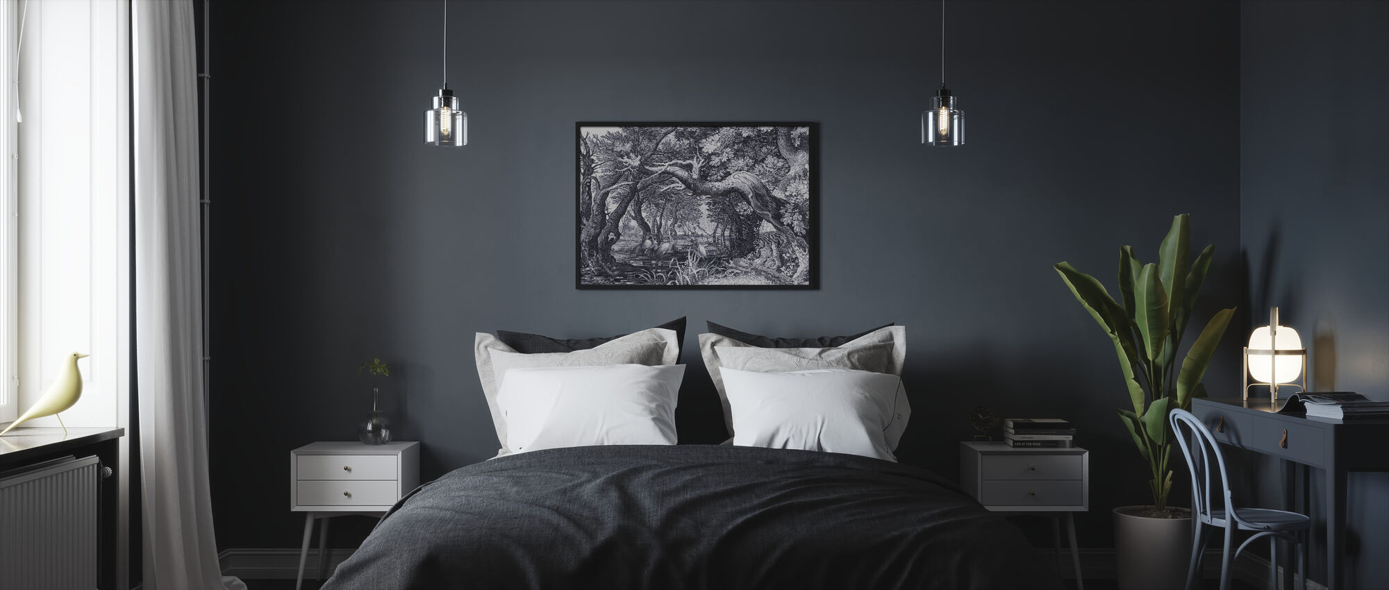 Wood and Stream - Framed print - Bedroom