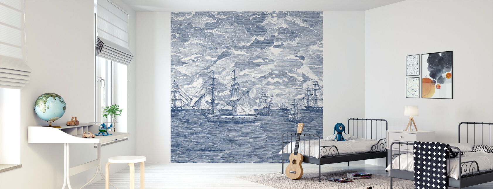 Sail Away - Cobalt Stars - Wallpaper - Kids Room