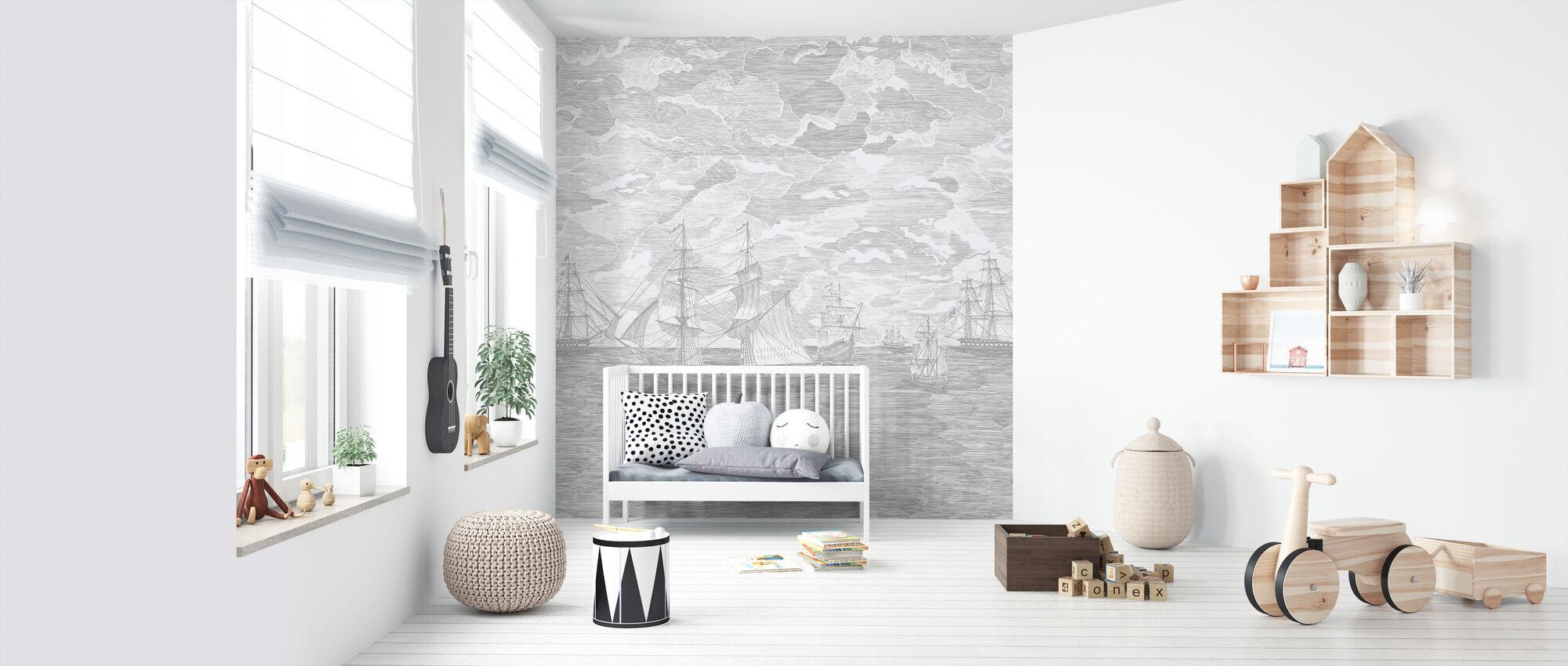 Sail Away - Grey - Wallpaper - Nursery